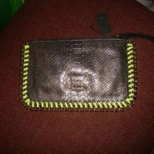 NWT Guess Pewter & Neon Yellow Green Wristlet